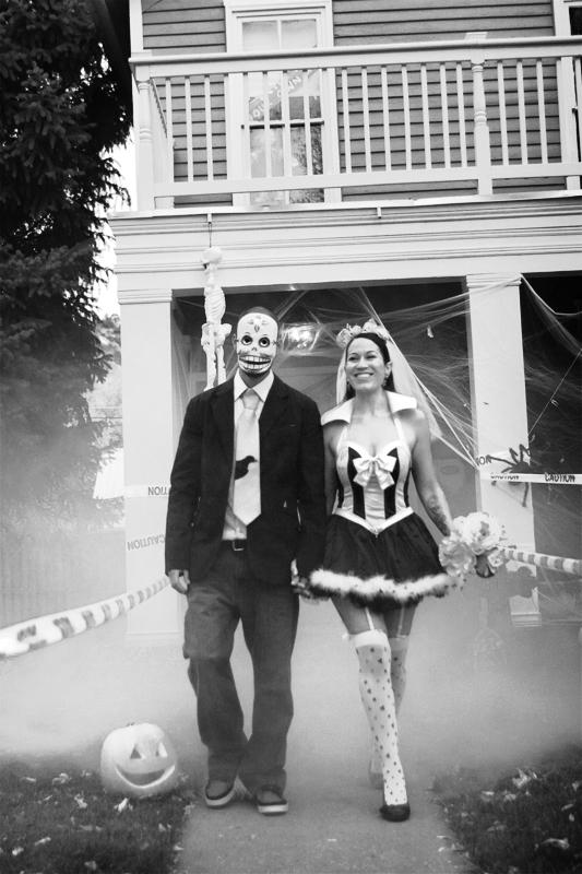 Photograph of bride and groom during a halloween wedding in Durango Colorado