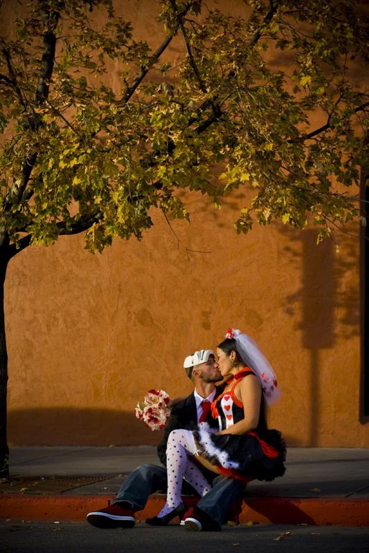 Bride and groom portrait on halloween in Durango Colorado