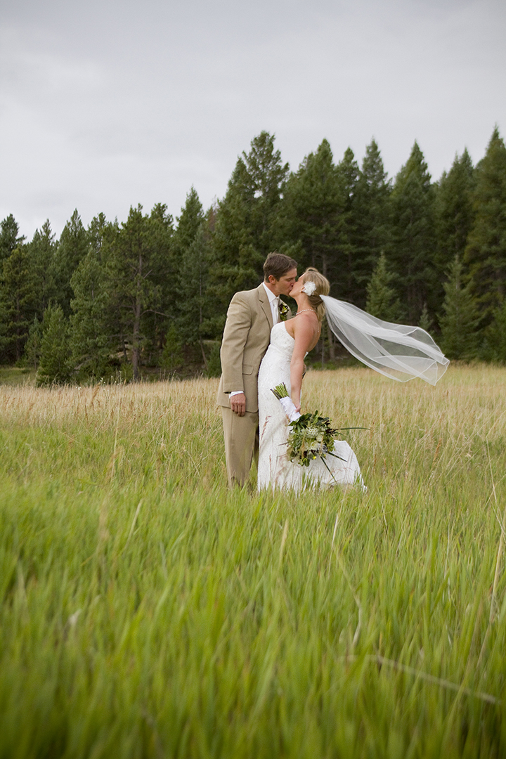 Wedding photograph of bride and groom near Evergreen Colorado