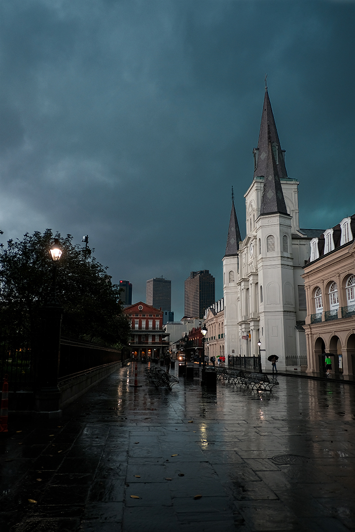 Photograph of a rainy morning looking at St. Louis Cathedral in New Orleans Louisiana