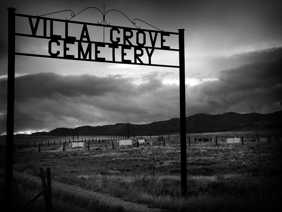 Landscape photograph of a cemetery outside of Villa Grove Colorado