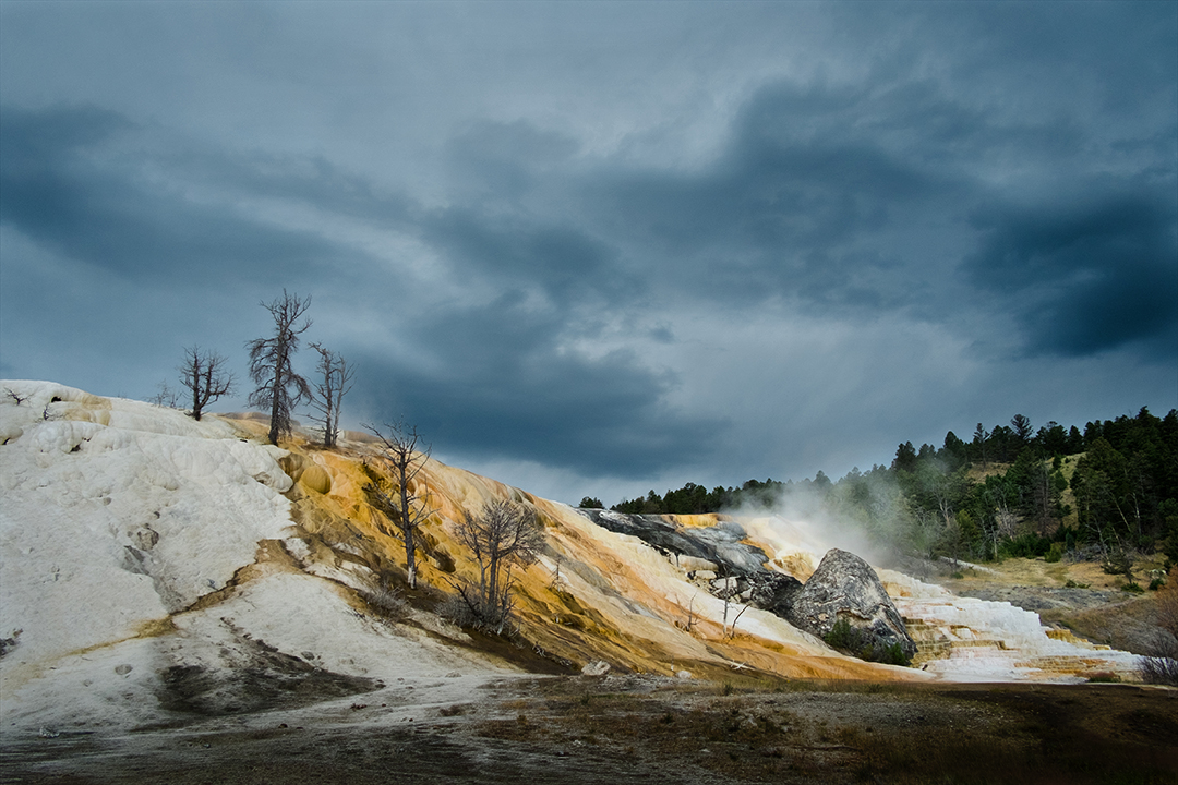 Landscape photograph of geyser at Yellowstone National Park in Wyoming