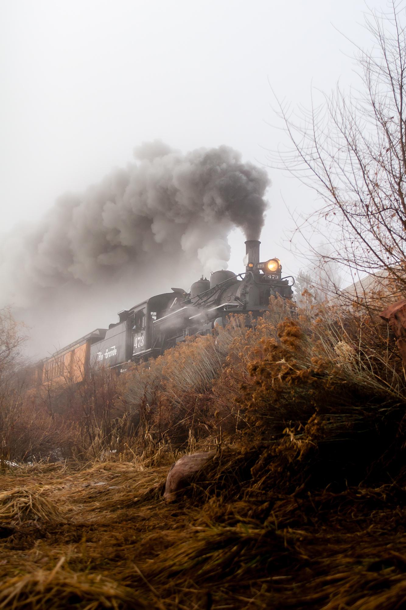Photograph of Durango Silver Narrow Gauge Railroad train engine in Durango Colorado